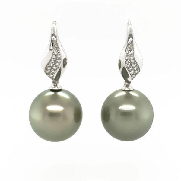 Pistachio Tahitian Pearls on White Gold & Diamond HooksPistachio Tahitian Pearls on White Gold & Diamond Hooks