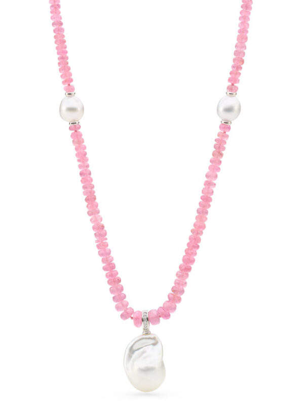 Pink Spinel & South Sea Pearl Necklace
