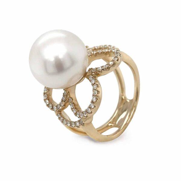 Diamond Clover & Pearl Ring