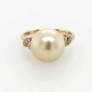 Light Gold South Sea Pearl on a 14 Carat Yellow Gold Diamond Set Ring