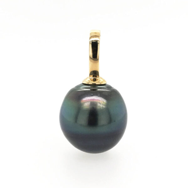 A large 15.1 by 15.7mm Tahitian Pearl, Circle-round in shape, grade 2, with a AA/AAA luster, peacock-blue in colour set on a 14ct yellow gold enhancer pendant.