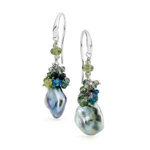 Keshi & Sapphire Cluster Earrings