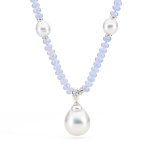 Chalcedony Necklace with South Sea Pearl Enhancer