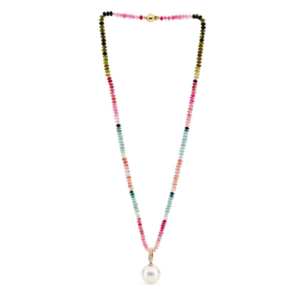 Multi Colour Tourmaline Necklace with a South Sea Pearl Enhancer