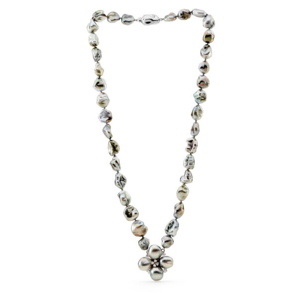 Tahitian Keshi Necklace with Floral Centerpiece
