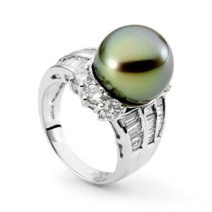 Tapered Baguette & Pistachio Tahitian Pearl Ring