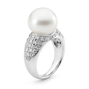 Platinum, Diamond Set Pearl Ring